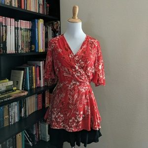 River Island Red Floral Blouse